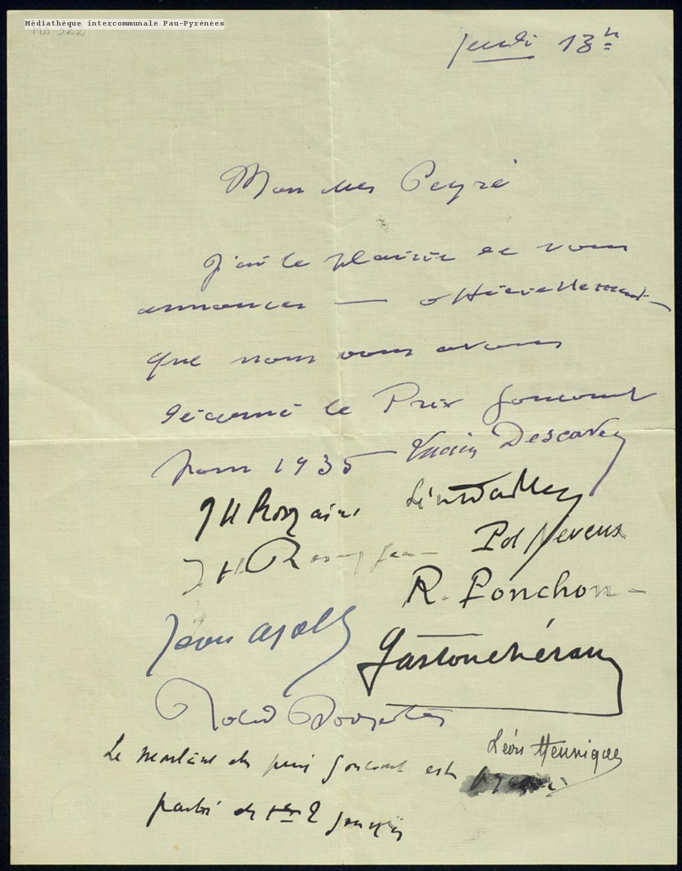 Lettre du jury Goncourt à Joseph Peyré (1935)