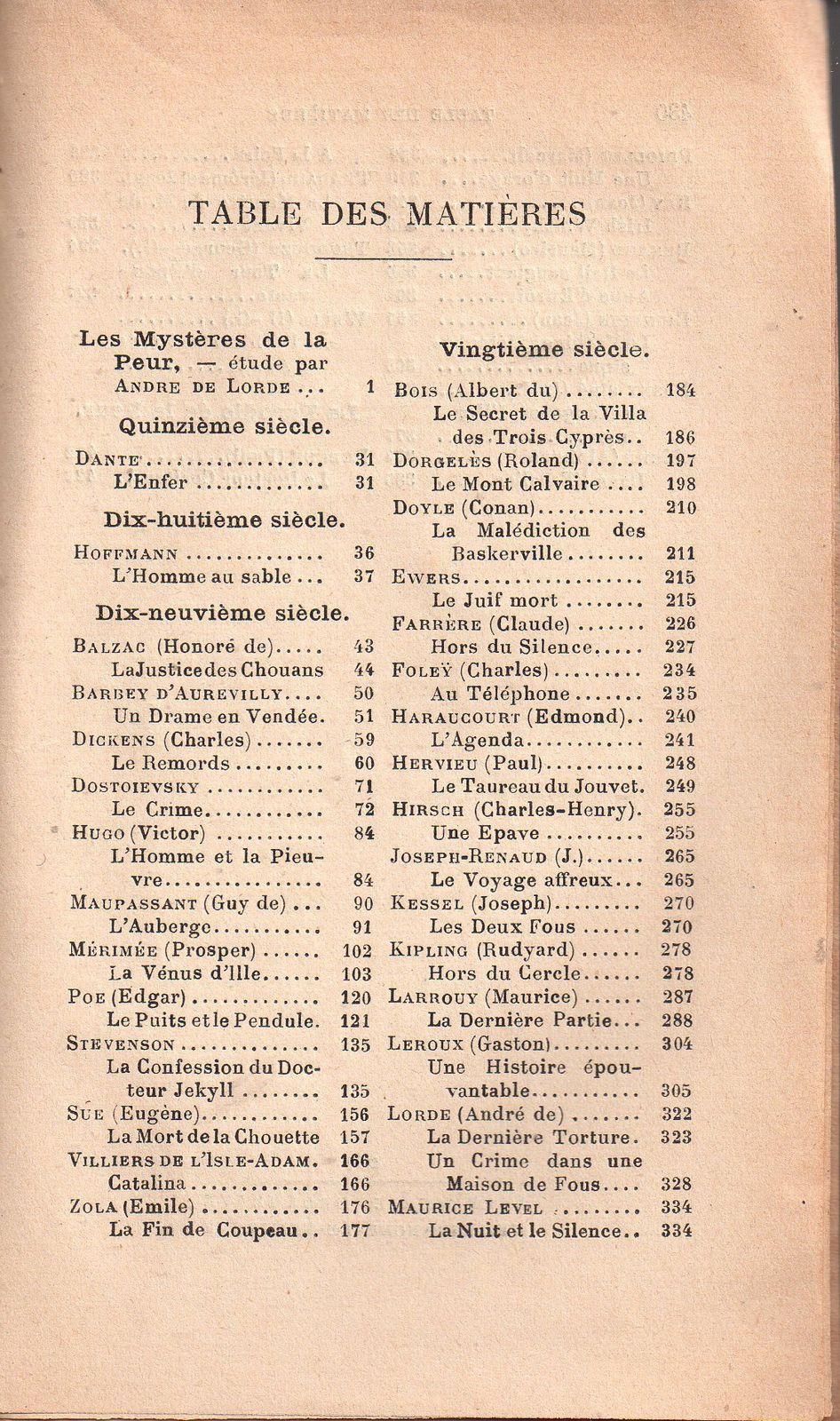 """André de Lorde et Albert Dubeux """"Les Maîtres de la Peur"""" (Delagrave - 1927)"""