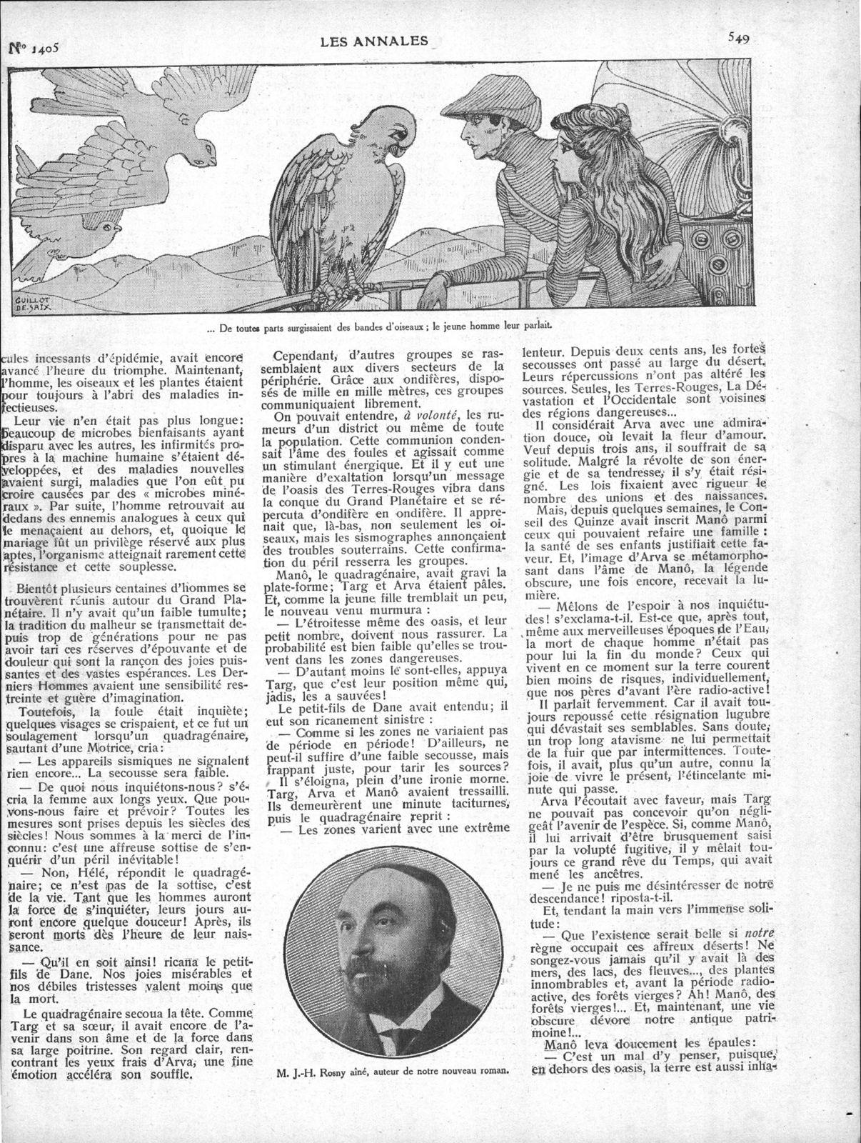 """J.-H. Rosny aîné """"La Mort de la Terre"""" in Les Annales politiques et littéraires n°1405 du 29 mai 1910"""
