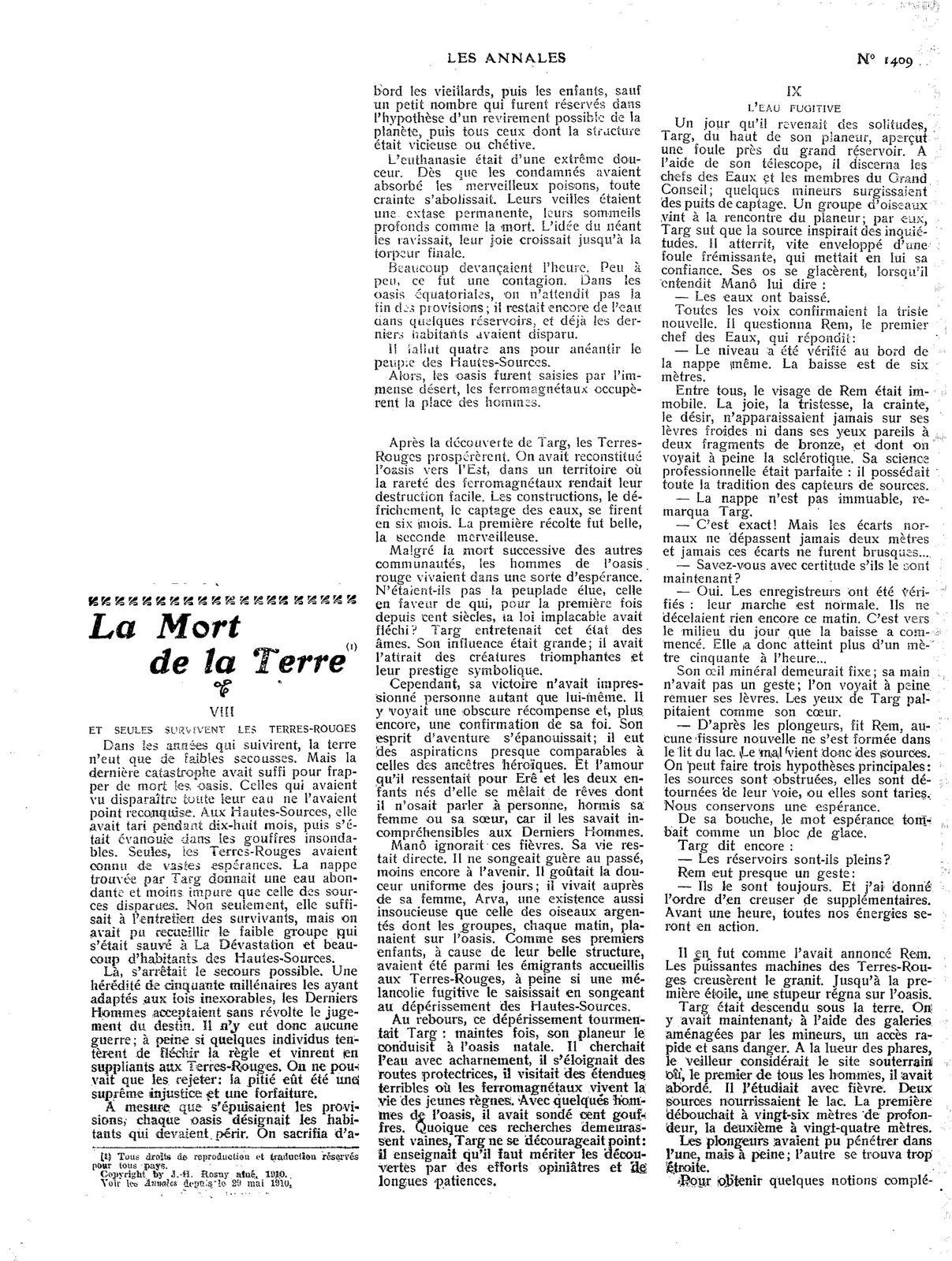 """J.-H. Rosny aîné """"La Mort de la Terre"""" in Les Annales politiques et littéraires n°1409 du 26 juin 1910"""