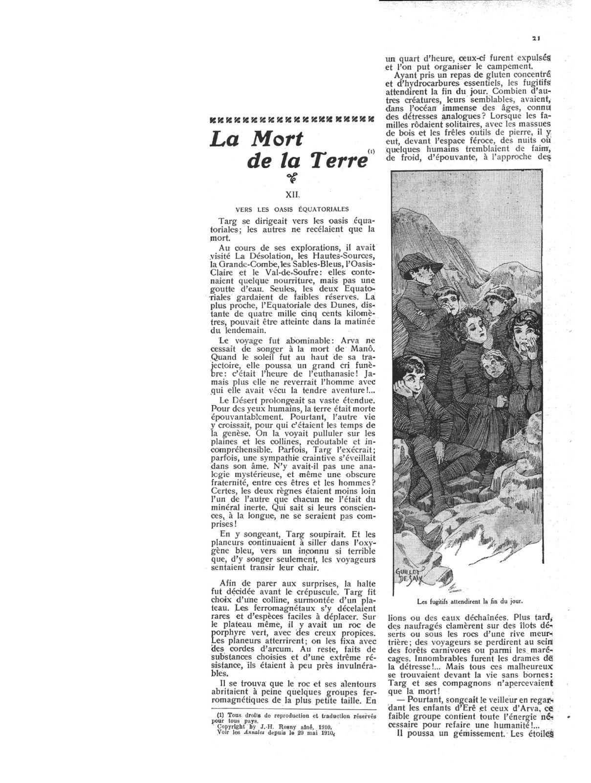 """J.-H. Rosny aîné """"La Mort de la Terre"""" in Les Annales politiques et littéraires n°1410 du 3 juillet 1910"""