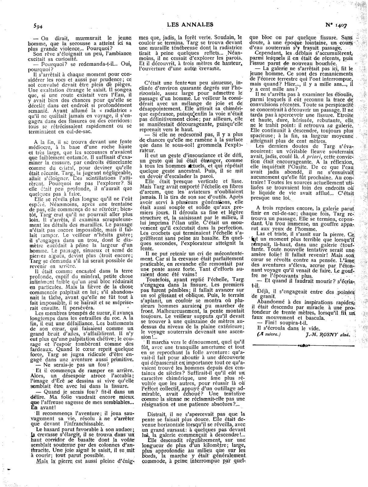 """J.-H. Rosny aîné """"La Mort de la Terre"""" in Les Annales politiques et littéraires n°1407 du 12 juin 1910"""