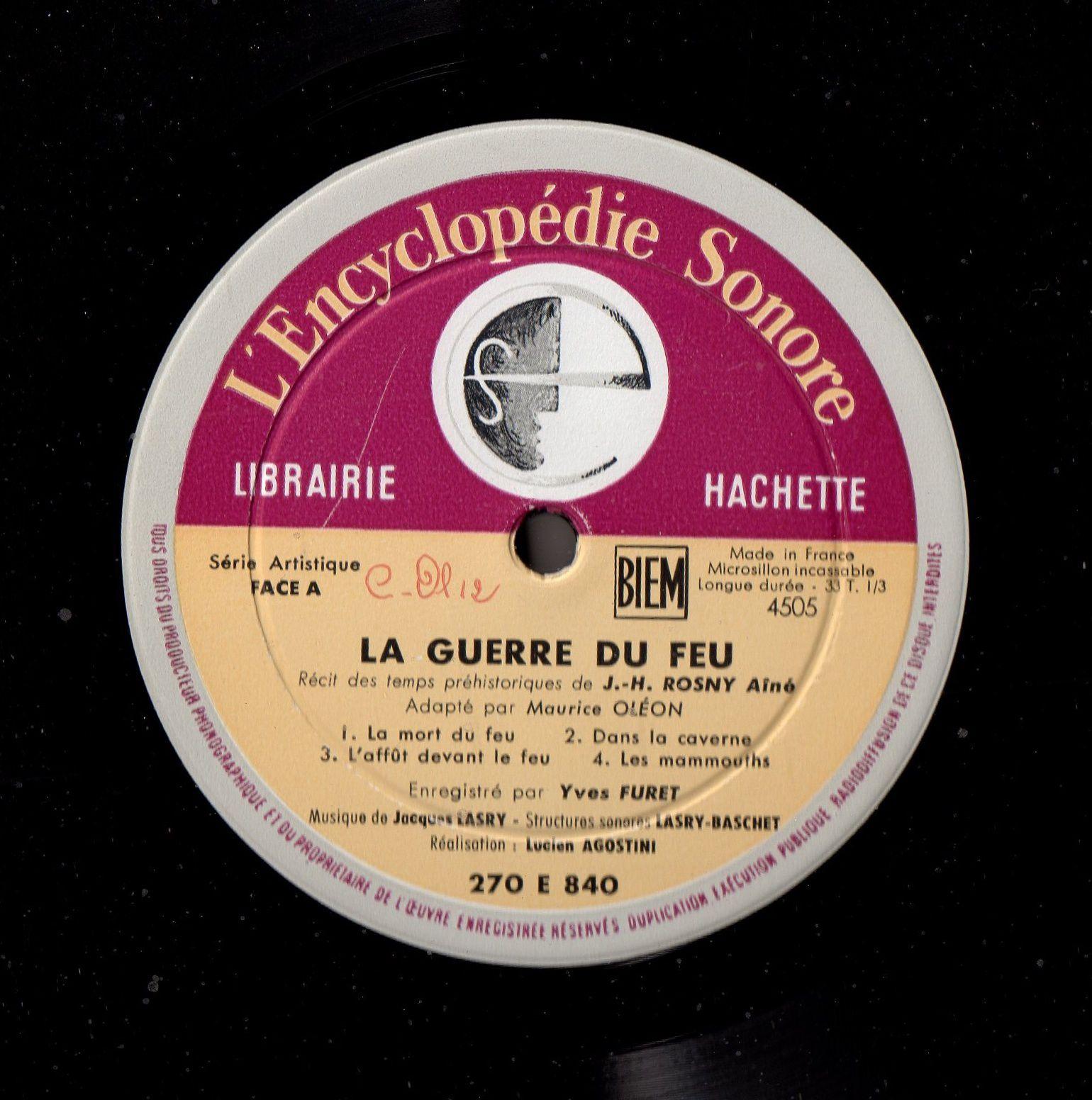 """J.-H. Rosny aîné """"La Guerre du Feu"""" (L'Encyclopédie Sonore - 1961)"""