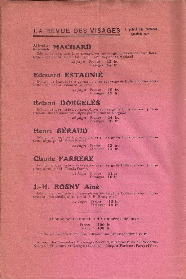 La Revue des Visages n°6 : J.-H. Rosny aîné (1928) : publicité