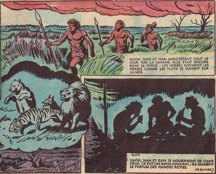"""J.-H. Rosny aîné """"La Guerre du Feu"""", par René Pellos in Zorro - Nouvelle formule (1950/1951)"""
