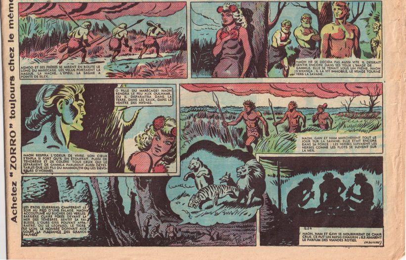 """J.-H. Rosny aîné """"La Guerre du Feu"""", par René Pellos in Zorro - Nouvelle formule n°225 (1er octobre 1950)"""