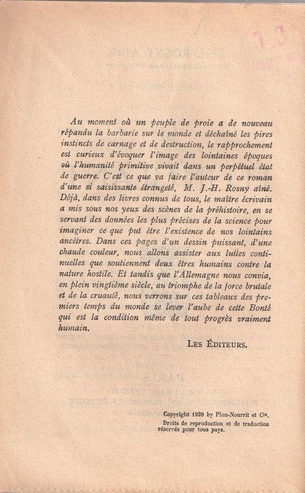 "J.-H. Rosny aîné ""Le Félin géant"" (Plon - 1920)"