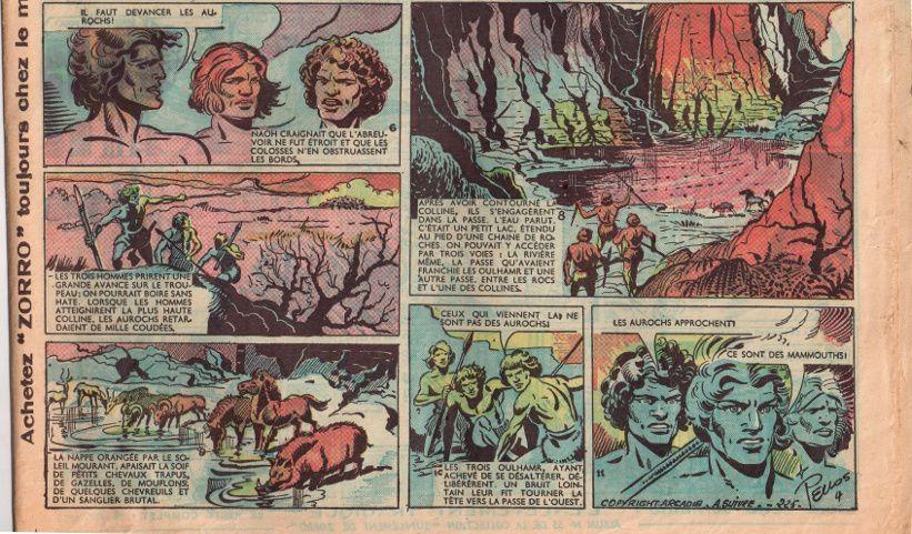 """J.-H. Rosny aîné """"La Guerre du Feu"""", par René Pellos in Zorro - Nouvelle formule n°223 (17 septembre 1950)"""