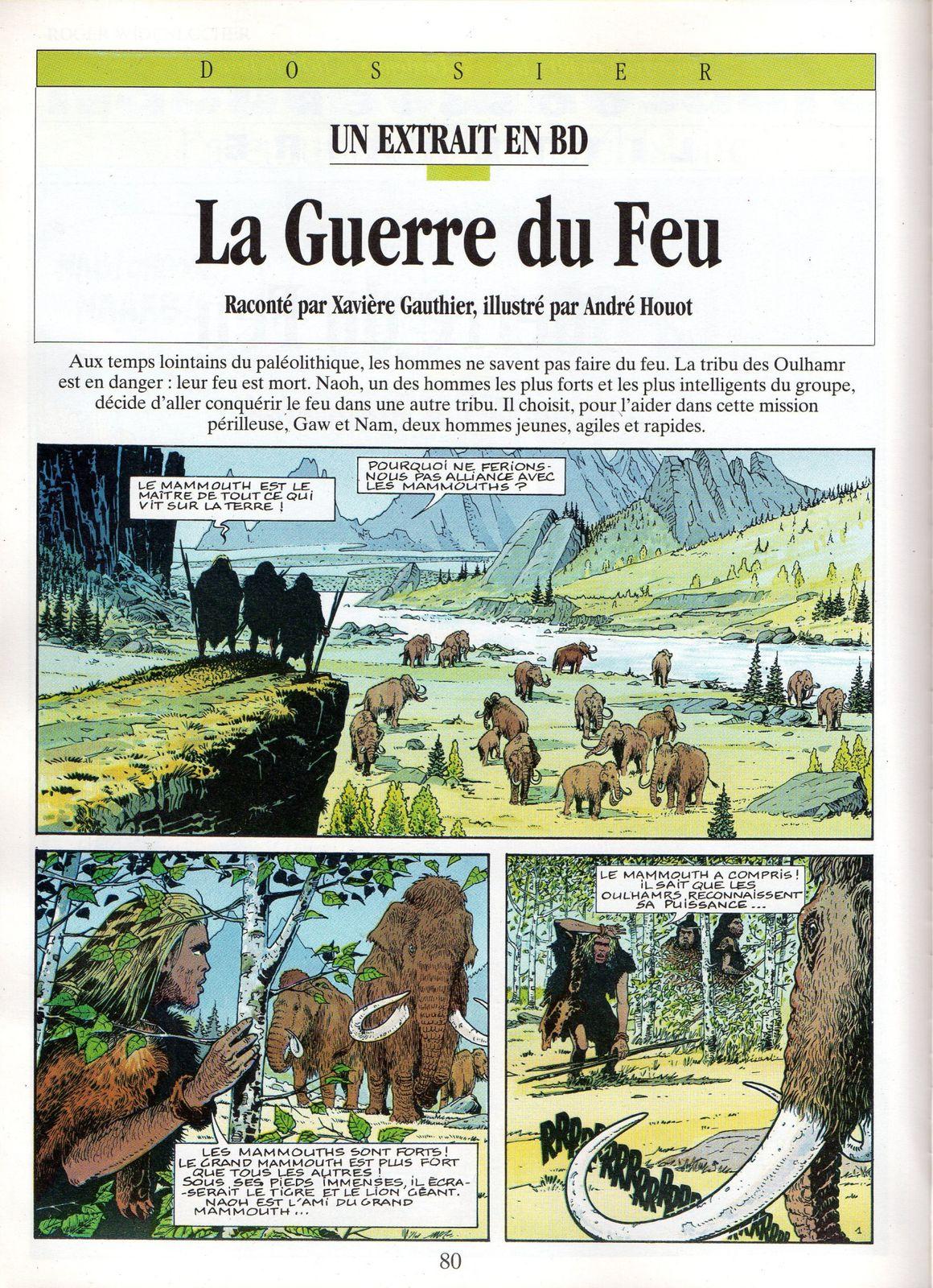 """J.-H. Rosny aîné """"La Guerre du Feu"""", adaptation B.D. par André Houot in Je Bouquine n°113 (juillet 1993)"""