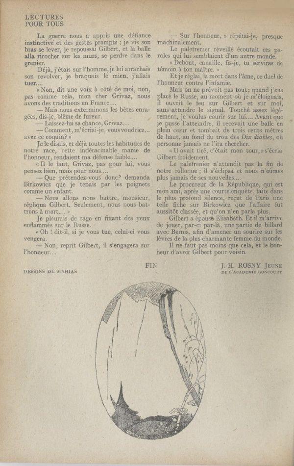 """J.-H. Rosny Jeune """"Le Drame de la ferme d'Orvey"""" 2/2 in Lectures pour de juin 1920"""