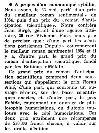 Grand prix du roman d'anticipation scientifique (1954)