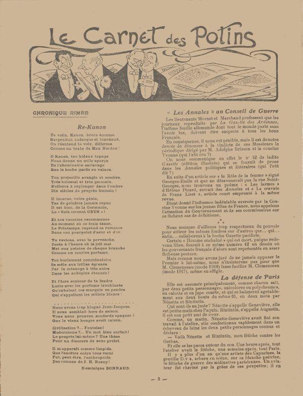 """Allusion à J. H. Rosny dans Dominique Bonnaud """"Re=Kanon"""" in Le Carnet de la semaine n°156 du 2 juin 1918"""
