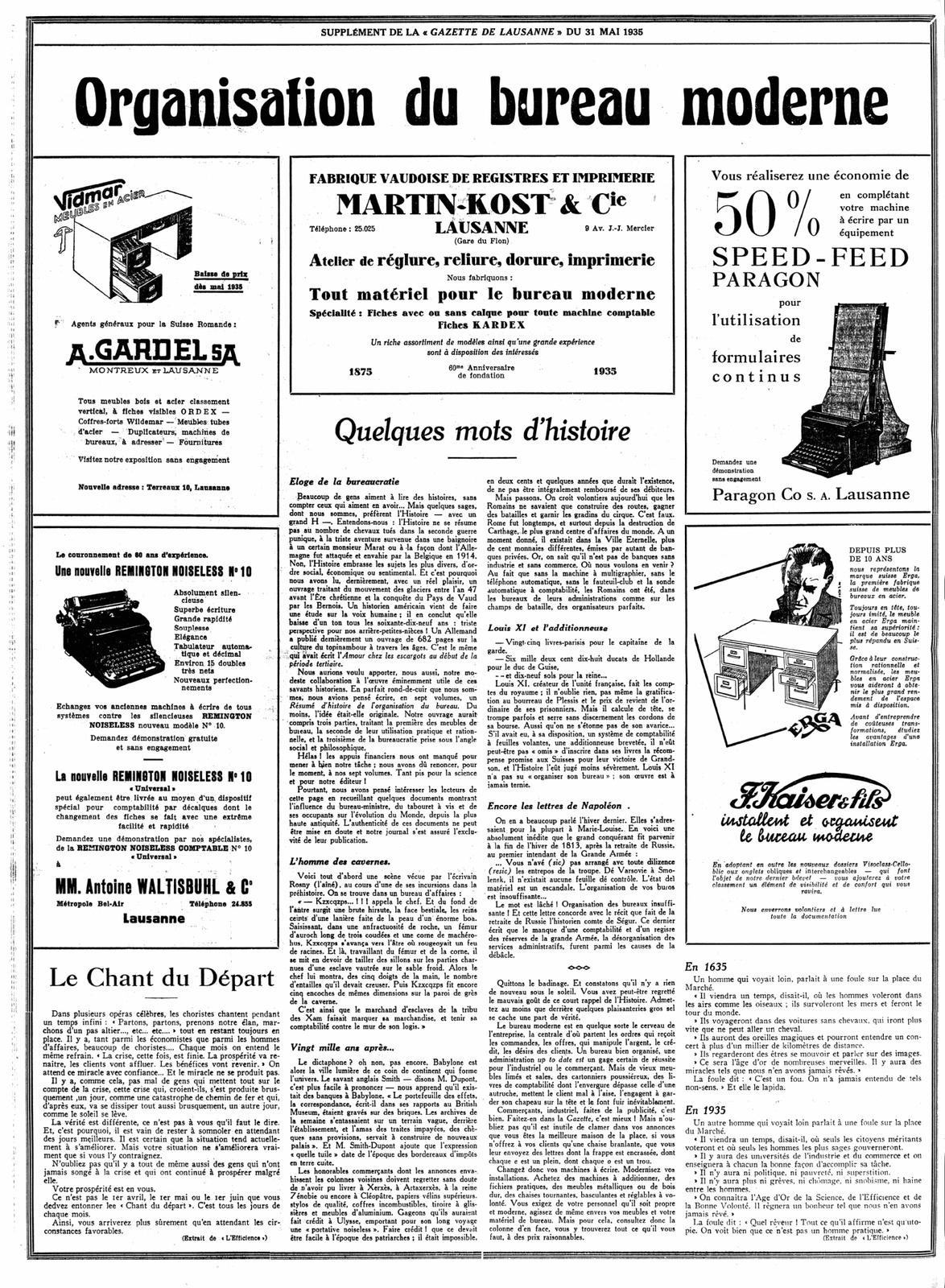 """Allusion à J.-H. Rosny aîné dans """"Quelques mots d'histoire"""" in supplément de la Gazette de Lausanne du 31 mai 1935"""
