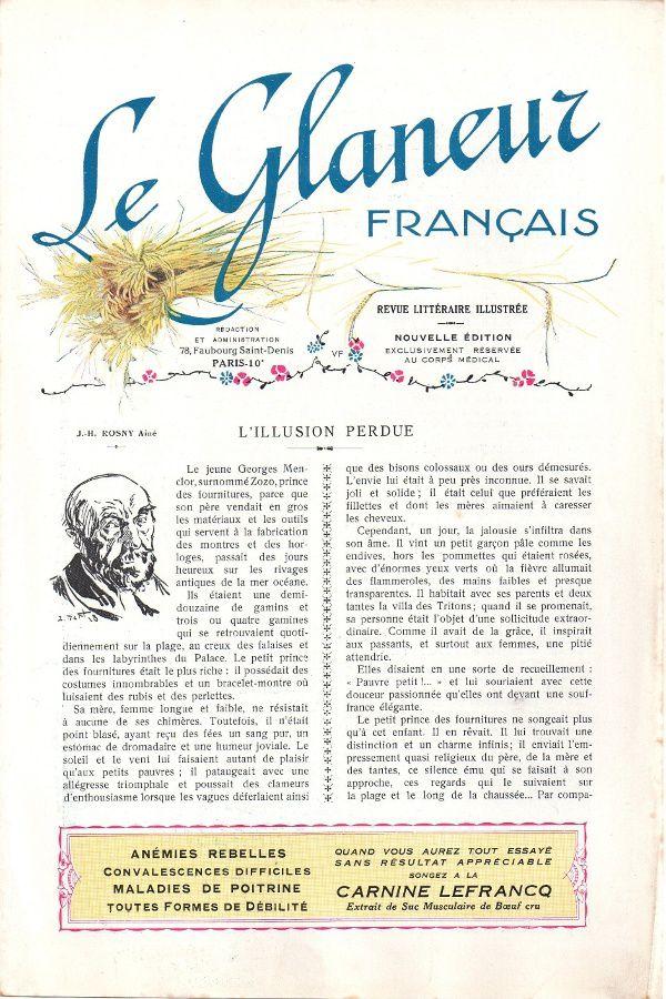 Textes de J.-H. Rosny publiés dans Le Glaneur Français