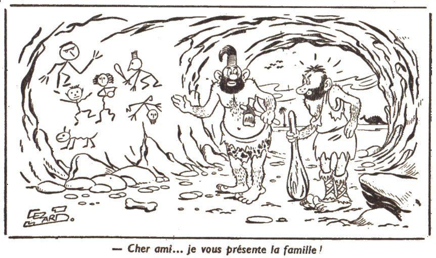 Humour préhistorique par Cézard, publié dans Fillette n°538 du 8 novembre 1956