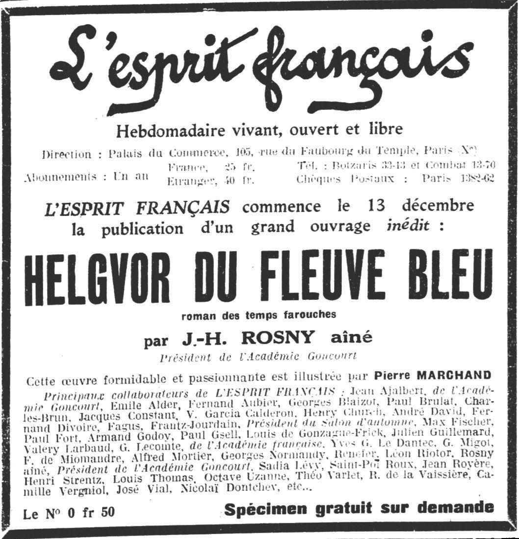"""J.-H. Rosny aîné """"Helgvor du Fleuve Bleu"""" in L'Esprit français (1929)"""