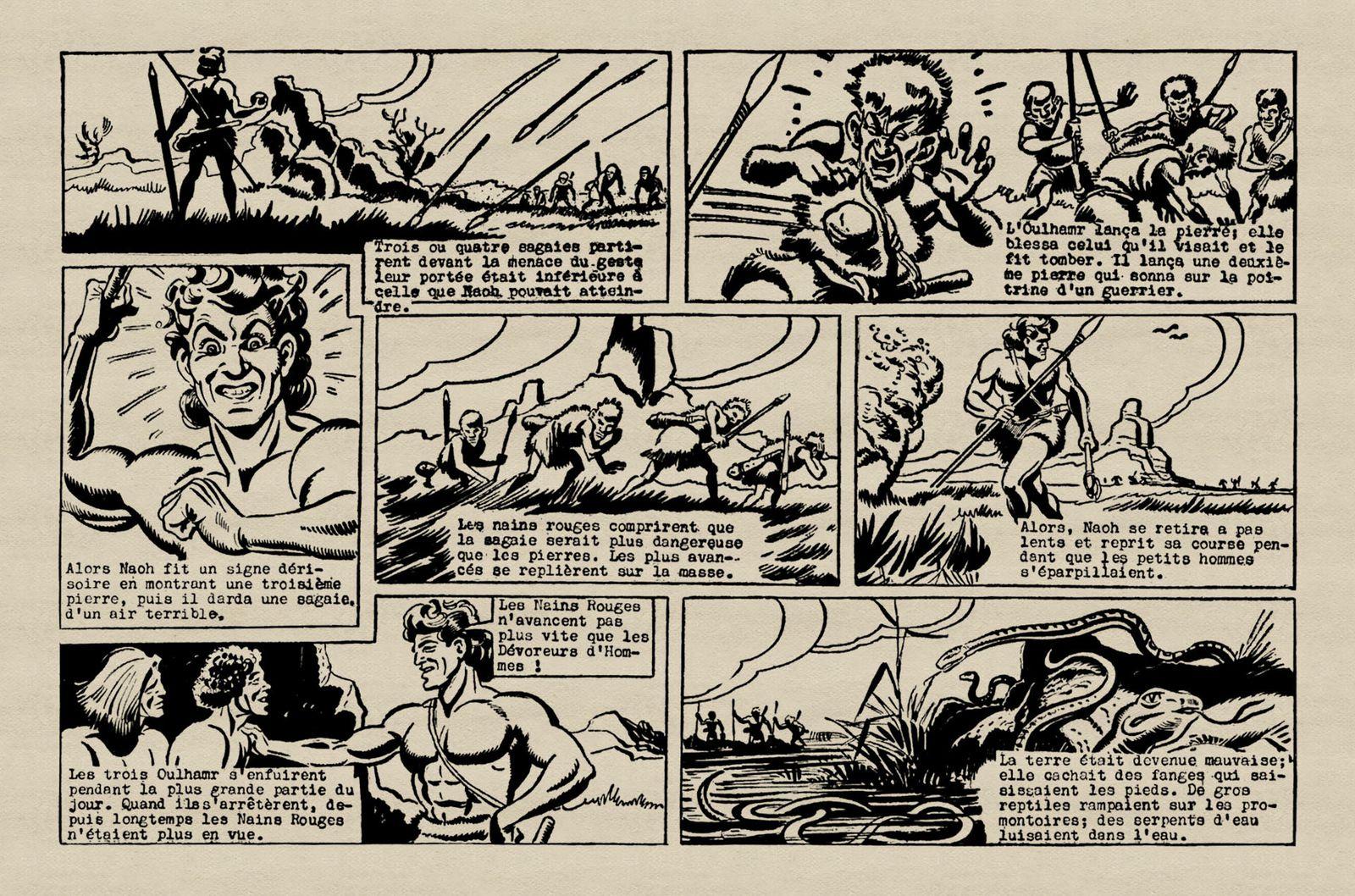 """J.-H. Rosny aîné """"La Guerre du Feu"""", par René Pellos in Héros-Magazine (1951/1952)"""