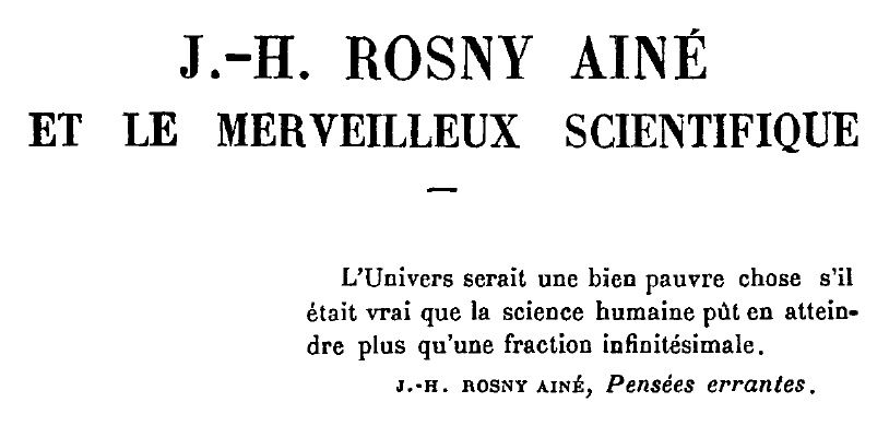 "Jean Morel ""J.-H. Rosny aîné et le Merveilleux Scientifique"" in Mercure de France n°667 du 1er avril 1926"