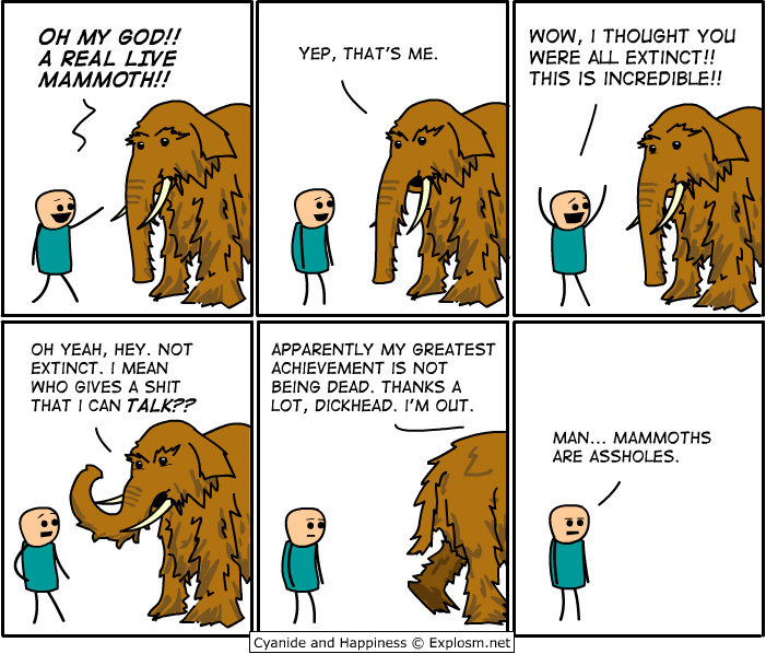 "Humour préhistorique : ""Oh my God !! A real live mammoth !!"""