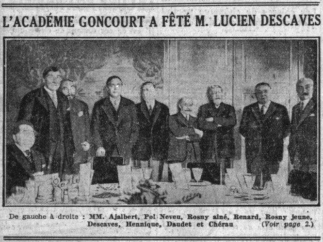 """R. N. """"L'Académie Goncourt a fêté dans un déjeuner la rentrée de M. Lucien Descaves"""" (1932)"""