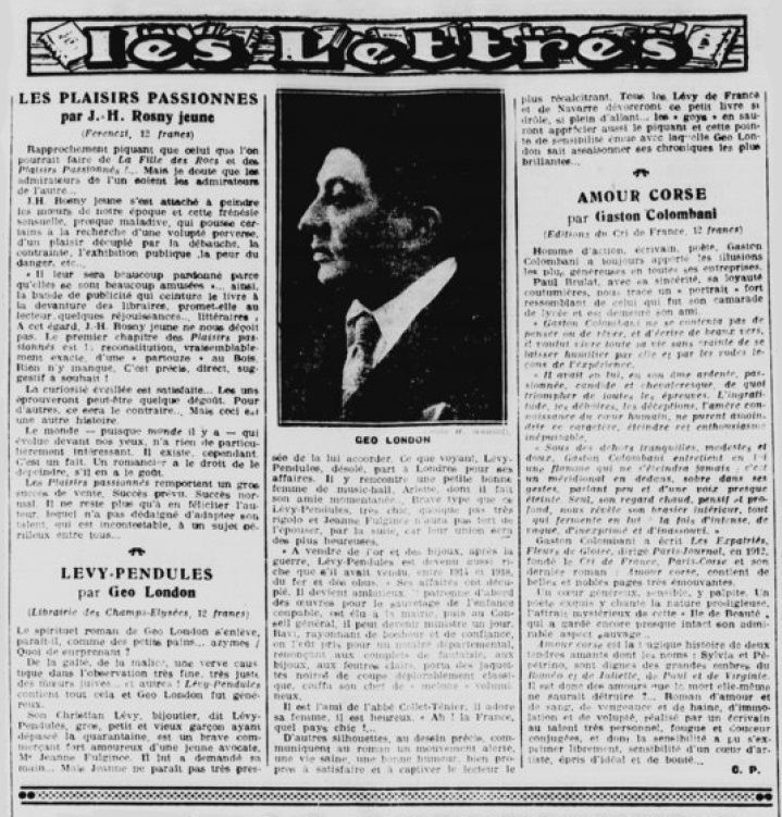 "Critique de ""Les Plaisirs passionnés"" par Claude Pierrey in La Gazette de Paris n°18 du 16 mars 1929."