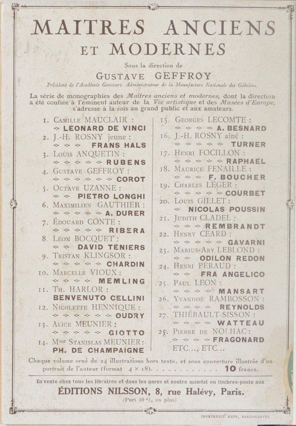 Catalogue de la collection Maîtres anciens et modernes (Nilsson)