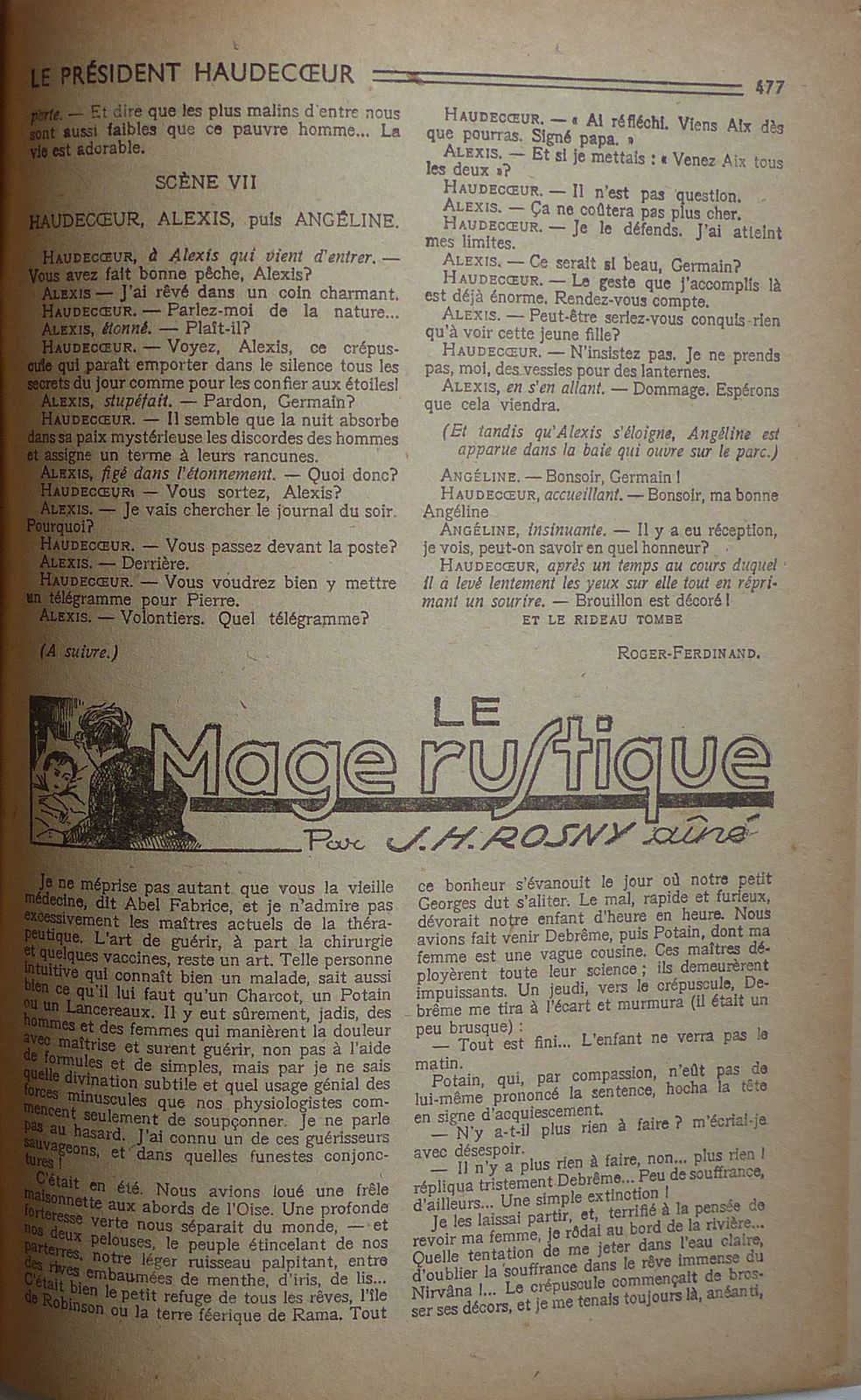 """J.-H. Rosny aîné """"Le Mage rustique"""" in Lisez-Moi n°45 (1947)"""