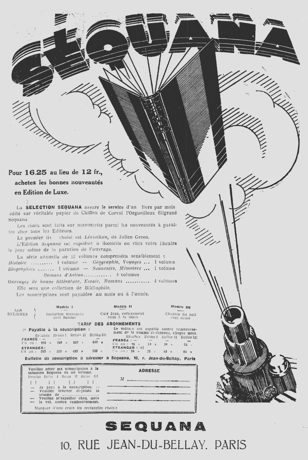Publicités pour les éditions Séquana (1929)