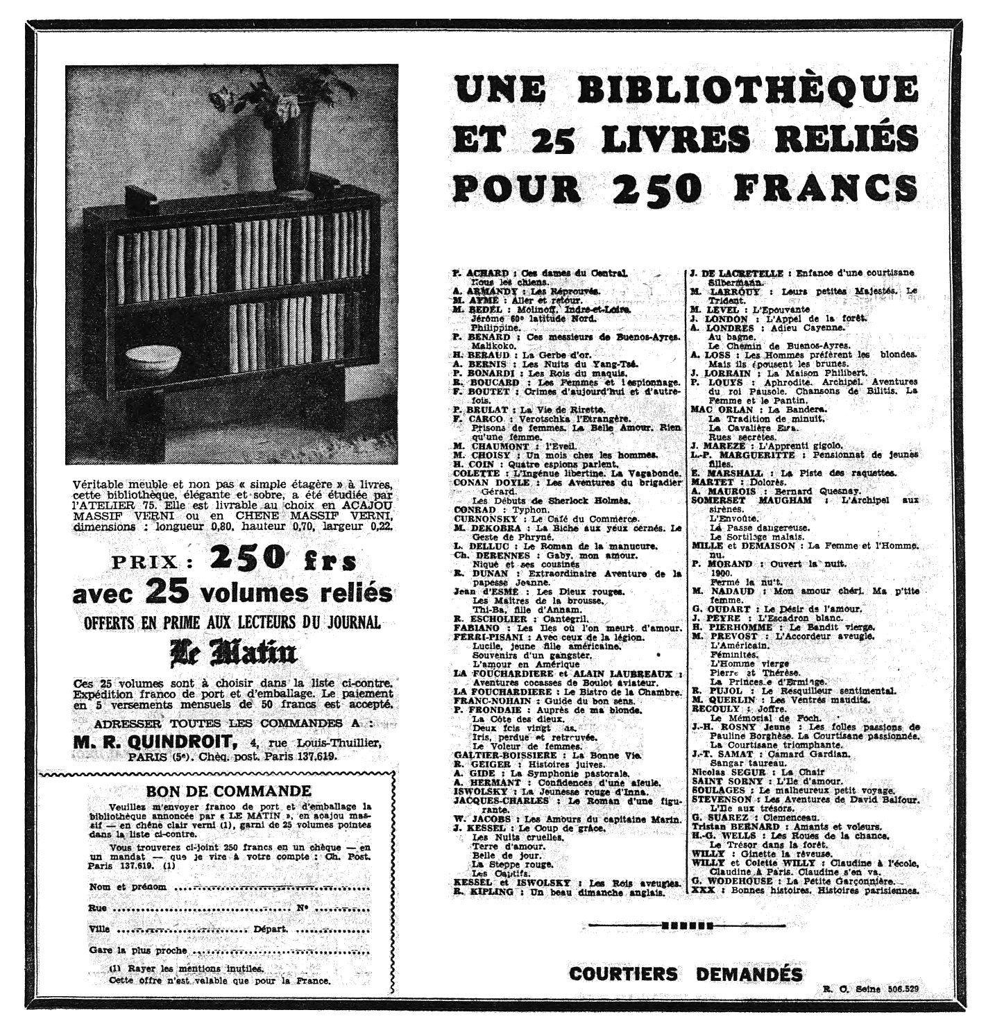 Ouvrages offerts en prime aux lecteurs du journal Le Matin (1936)