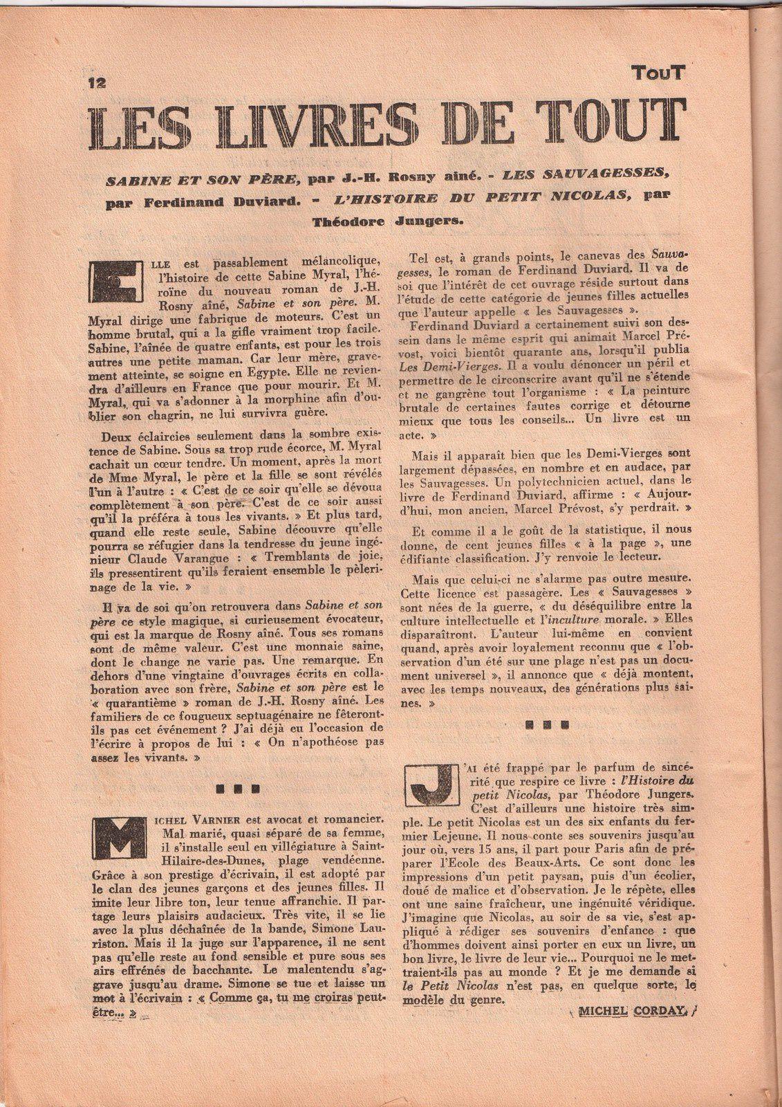 """Critique de """"Sabine et son père"""" par Michel Corday (1932)"""
