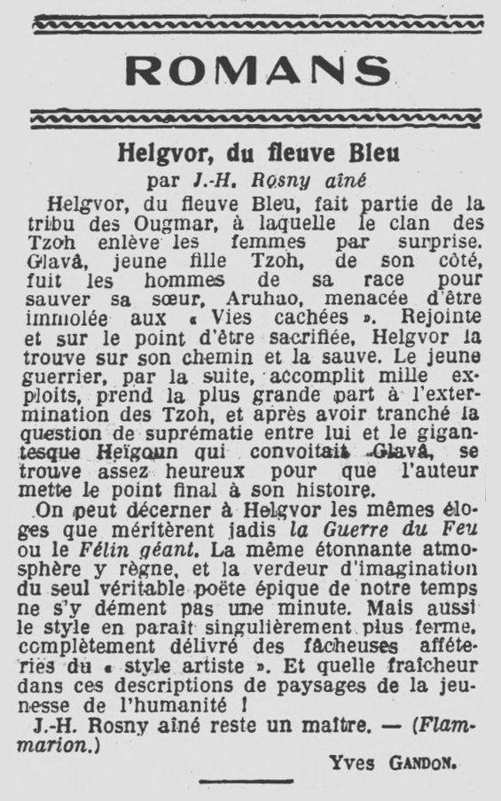 "Critique de ""Helgvor du fleuve Bleu"" par Yves Gandon (1932)"