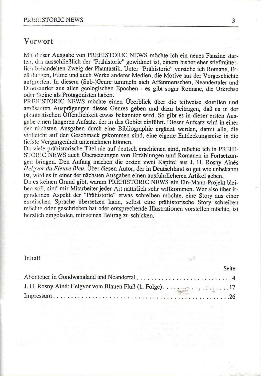 Prehistoric News n°1 (Bernhard Kempen - 1990)