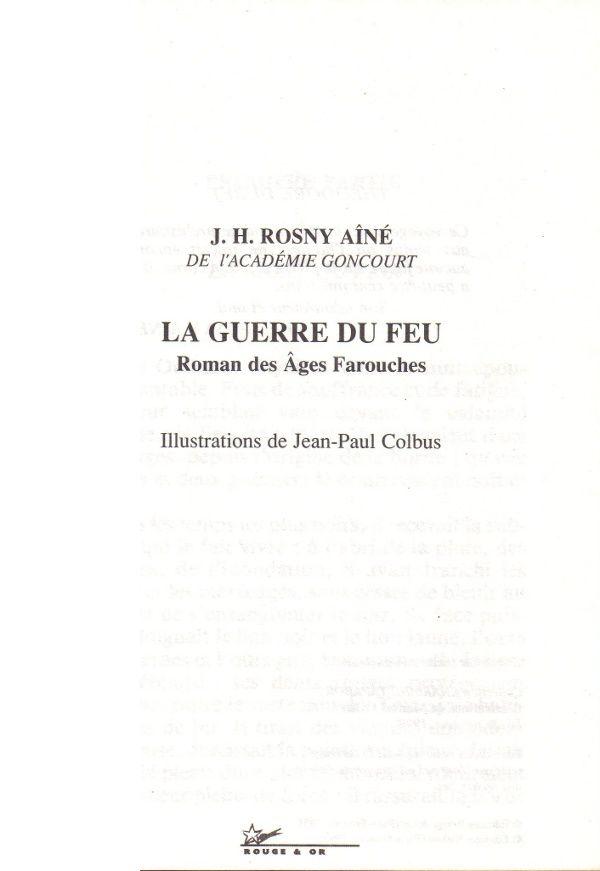 """J.-H. Rosny aîné """"La Guerre du Feu"""" (Nathan, Bibliothèque Rouge et Or - 1995)"""
