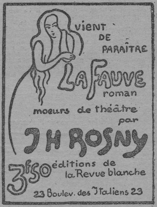 """Publicité : J.-H. Rosny Jeune """"La Fauve"""" (La Revue Blanche - 1899)"""
