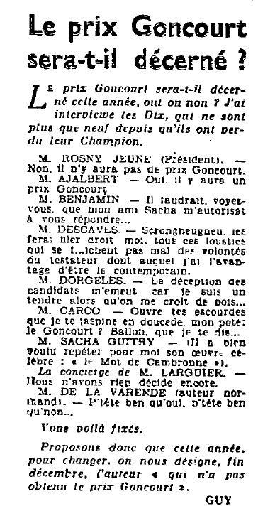 """Guy """"Le prix Goncourt sera-t-il décerné ?"""" (1943)"""