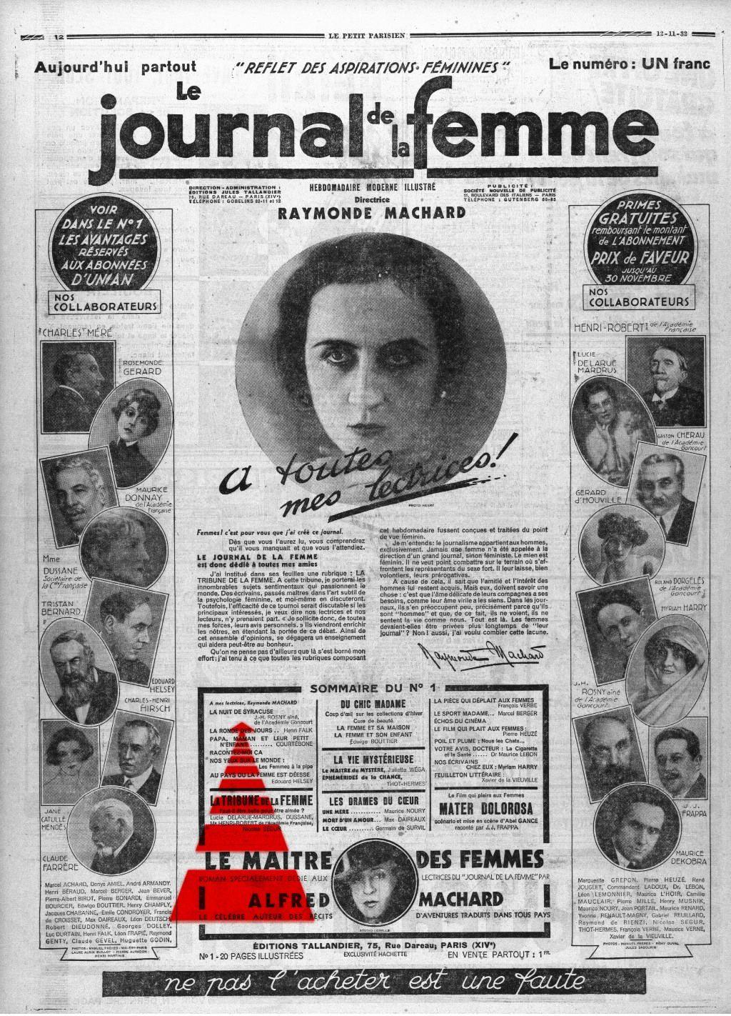 Publicité pour Le Journal de la Femme du 12 novembre 1932