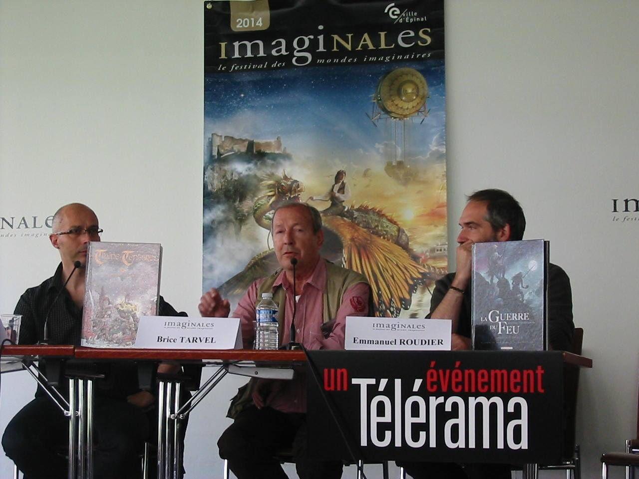 "Les Imaginales 2014 (Brice Tarvel, avec Emmanuel Roudier et sa BD ""La Guerre du Feu"")"