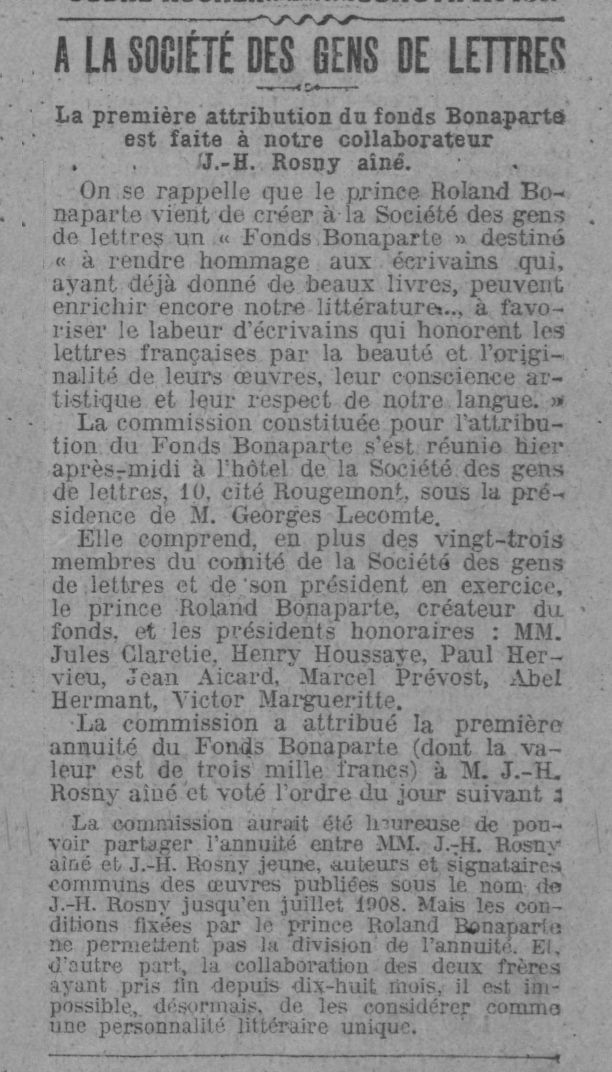Brève : attribution du Fonds Bonaparte à J.-H. Rosny aîné (1910)