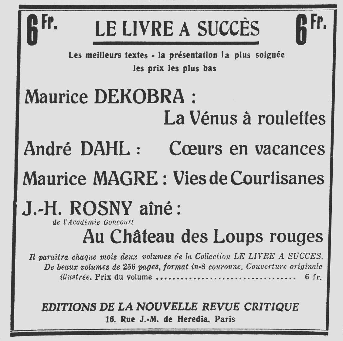 """Publicité : J.-H. Rosny aîné """"Au Château des loups rouges"""" (Nouvelle Revue Critique - 1931)"""