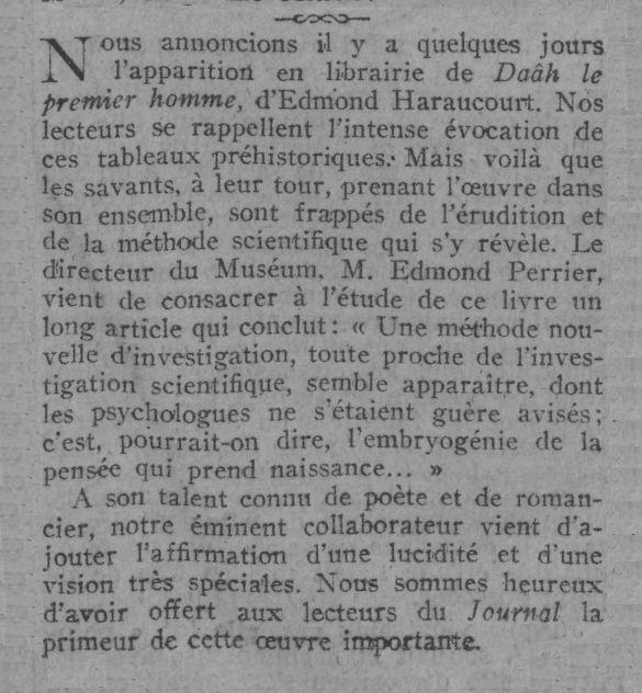 Edmond Haraucourt &quot&#x3B;Daâh le premier homme&quot&#x3B; (1912-1914)