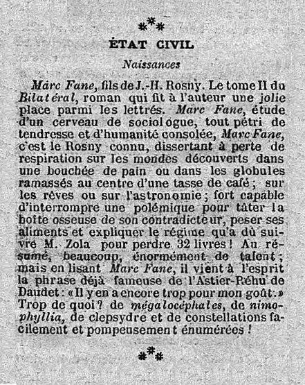 Brève : État civil - Naissance de Marc Fane (1888)