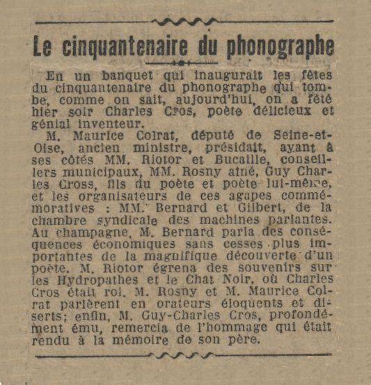 Brève : Le Cinquantenaire du phonographe (1927)