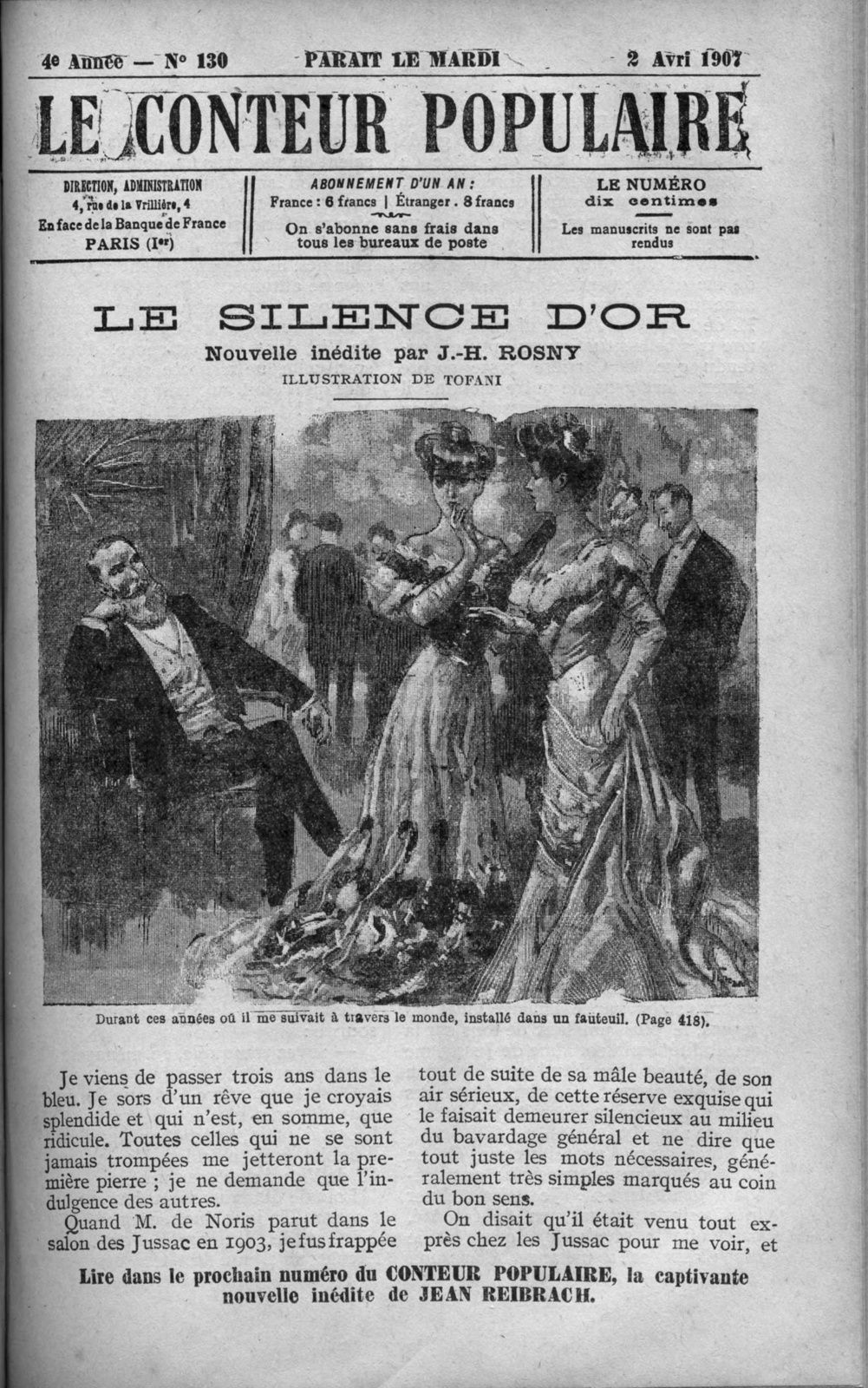 """J.-H. Rosny """"Le Silence d'or"""" in Le Conteur populaire (1907)"""