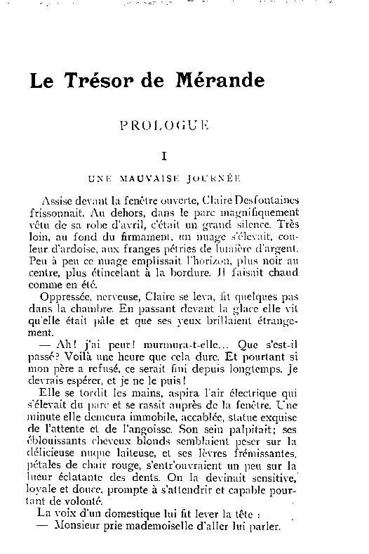 """Henri de Noville """"Le Trésor de Mérande"""" in La Revue hebdomadaire (1902)"""