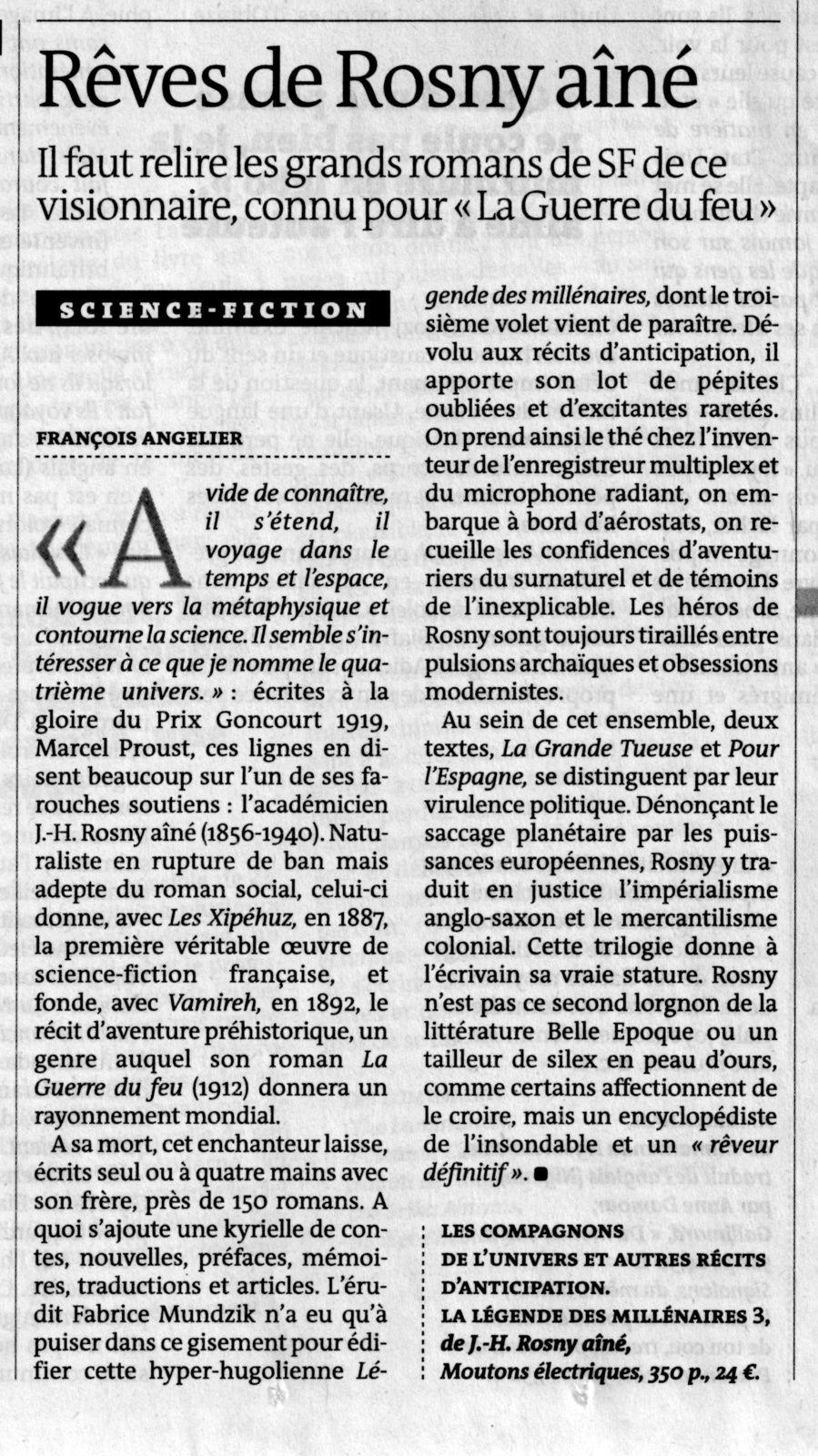 """François Angelier """"Rêves de Rosny aîné"""" in Le Monde (2015)"""