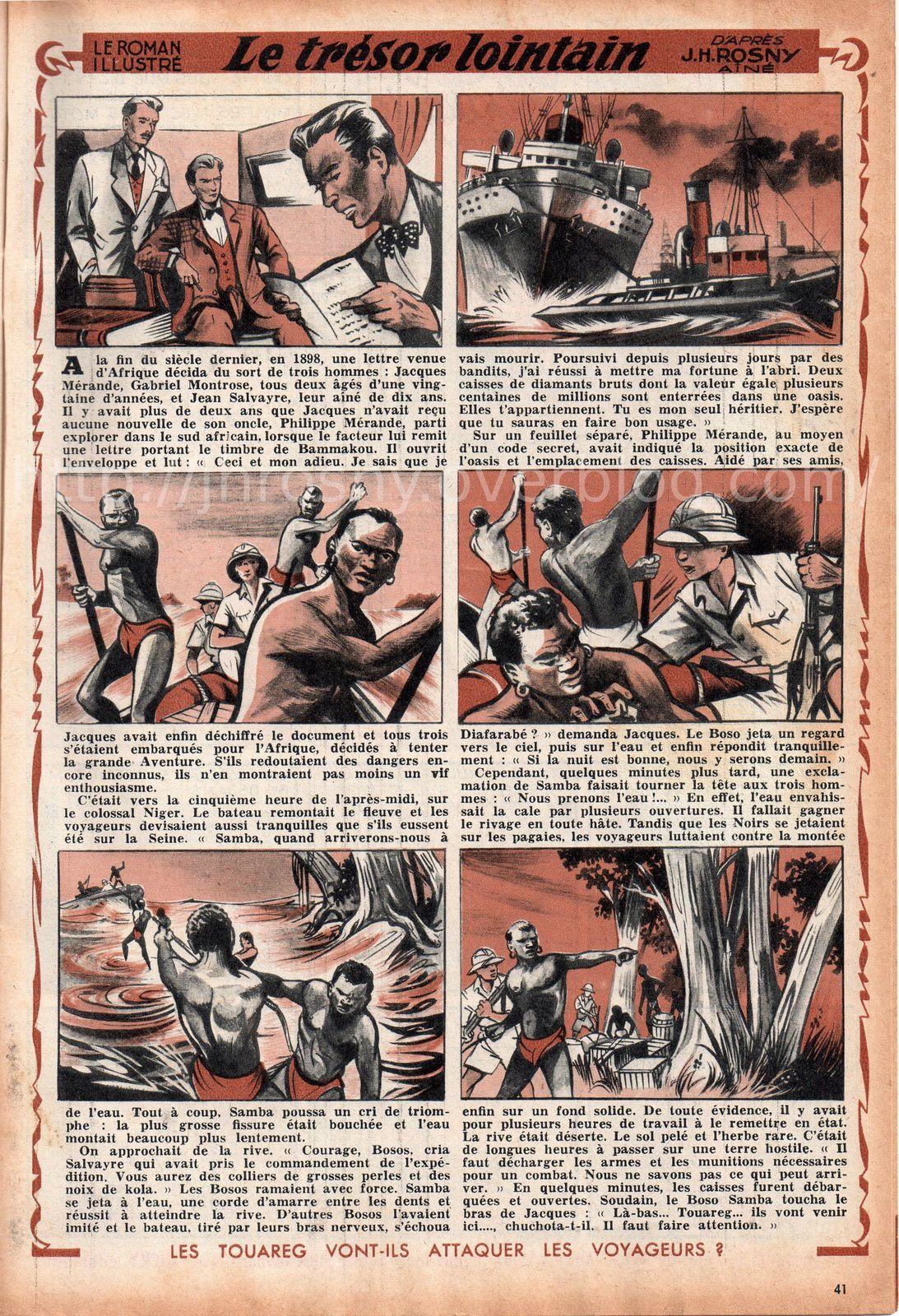 """J.-H. Rosny aîné """"Le Trésor lointain"""", par Pierdec (L'Intrépide n°417 - 1957)"""