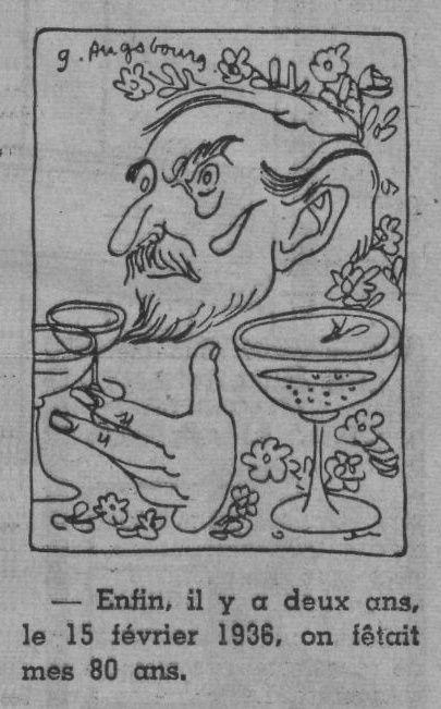 """Géa Augsbourg """"La Vie en images"""" (1938) : """"J.-H. Rosny aîné, président de l'Académie Goncourt"""""""