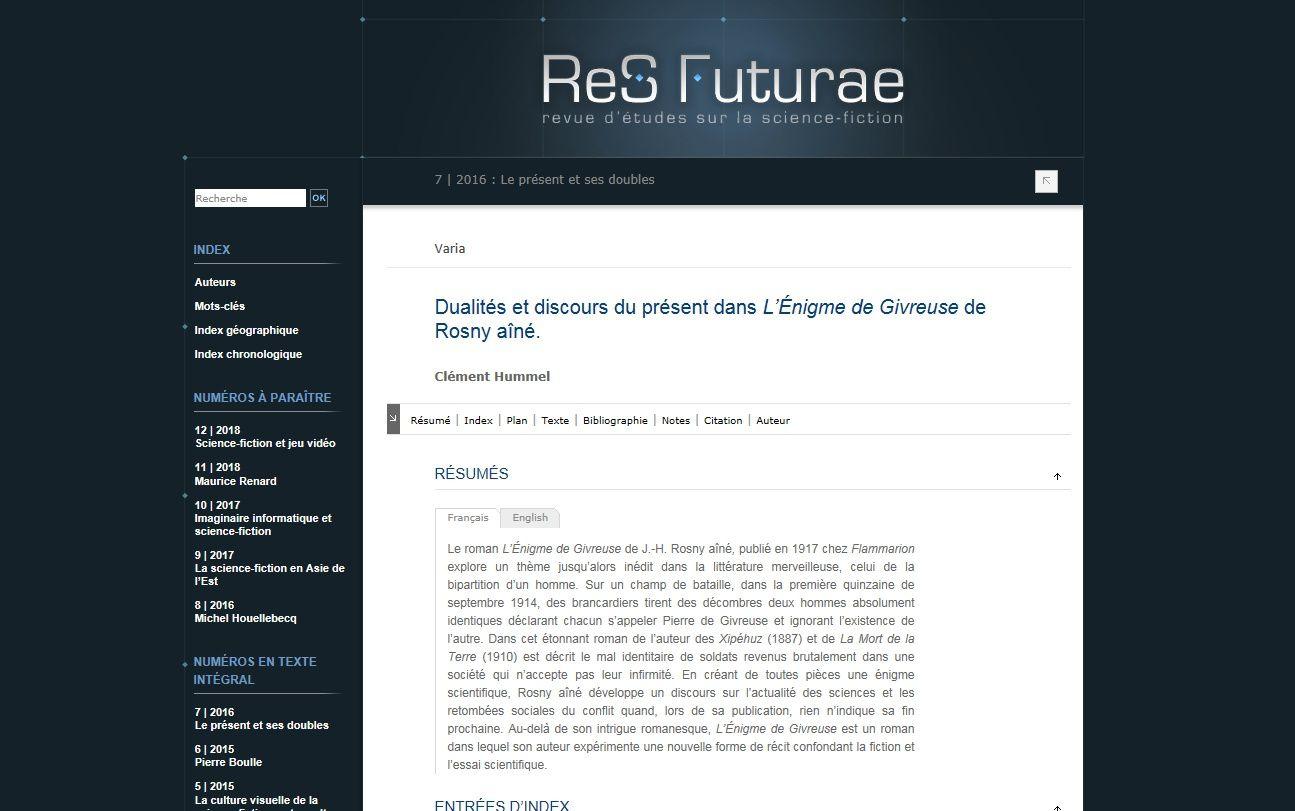Clément Hummel - Dualités et discours du présent dans L'Énigme de Givreuse de J.-H. Rosny aîné (2016)