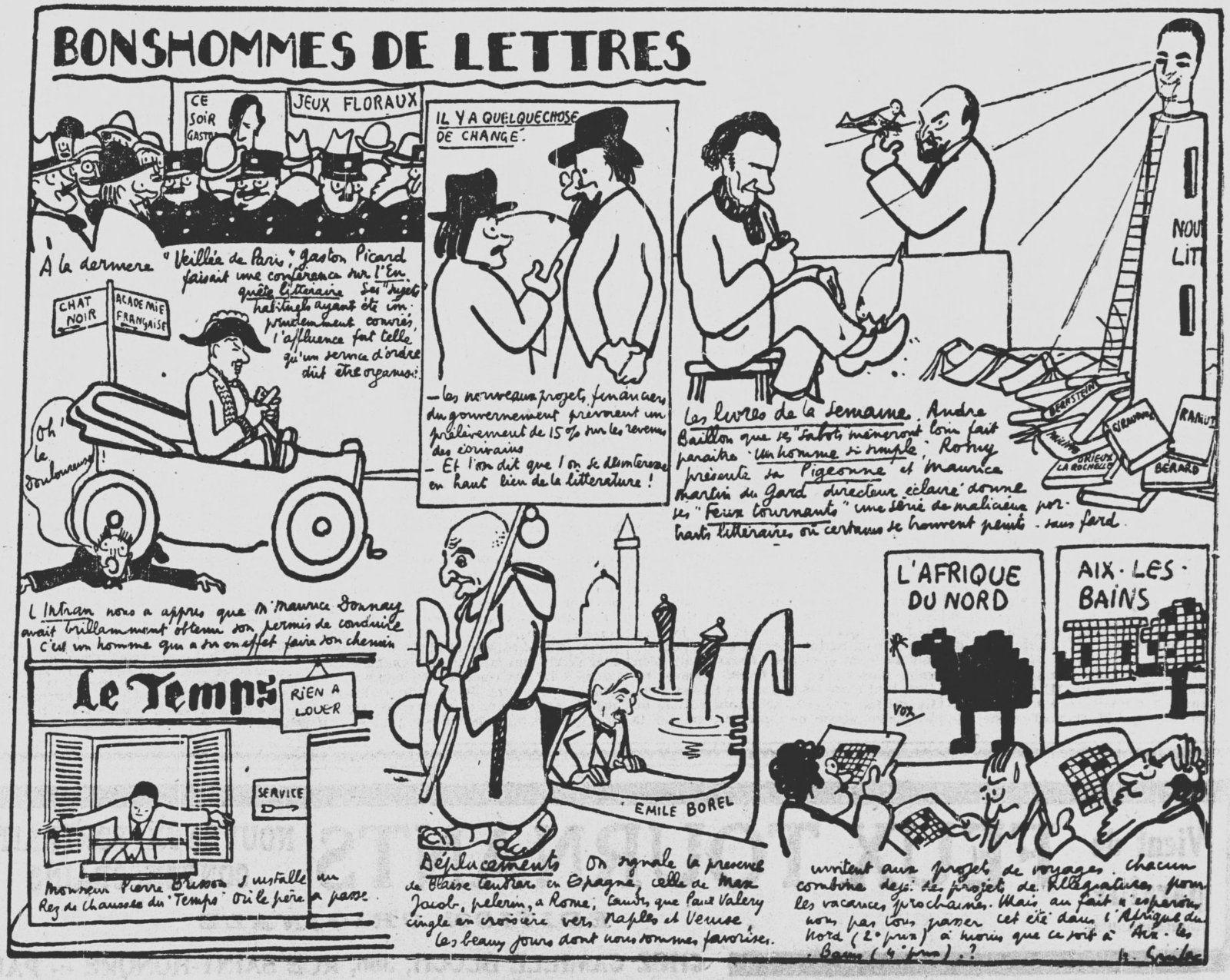 Bonshommes de Lettres, par Guilac in Les Nouvelles littéraires n°138 du 6 juin 1925
