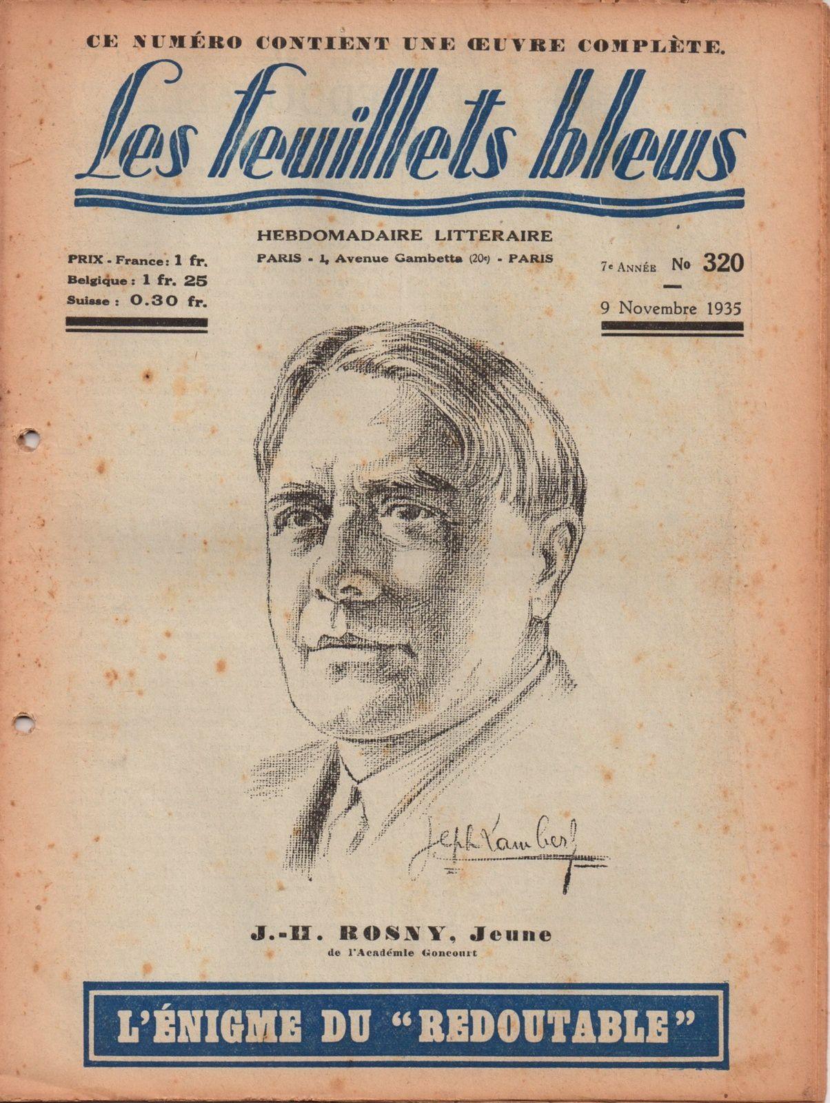 """J.-H. Rosny Jeune """"L'Enigme du « Redoutable »"""" in Les Feuillets bleus n°320, du 9 novembre 1935"""